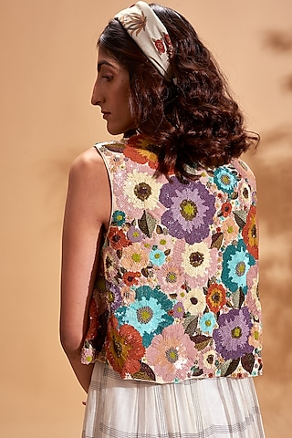 Multicolored Embroidered Jacket by Half Full Curve