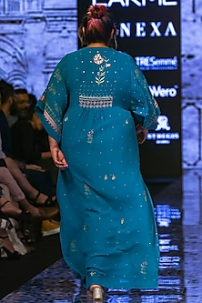 Teal Sequins Embroidered Kaftan by Half Full Curve