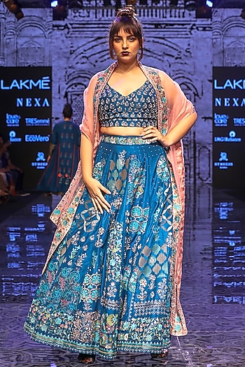 Teal Hand Embroidered Lehenga Set by Half Full Curve