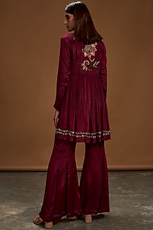 Plum Embroidered Top With Pants by Half Full Curve