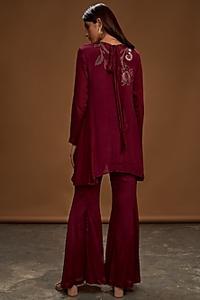 Plum Embroidered Tunic With Pants by Half Full Curve