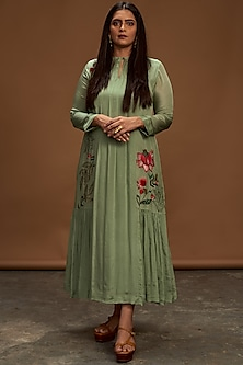 Sage Green Embroidered Tunic by Half Full Curve