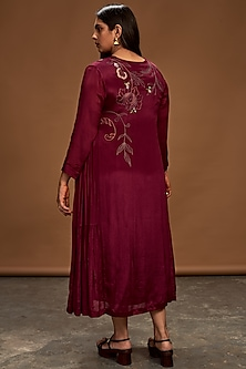 Plum Hand Embroidered Tunic by Half Full Curve