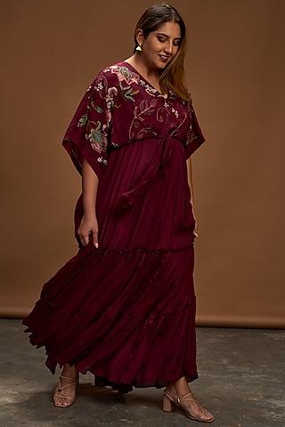 Plum Hand Embroidered Kaftan Dress by Half Full Curve