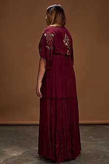 Plum Hand Embroidered Kaftan Dress by Half Full Curve