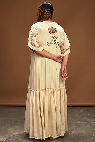 Ecru Hand Embroidered Kaftan Dress by Half Full Curve