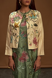 Ecru Floral Embroidered Jacket by Half Full Curve
