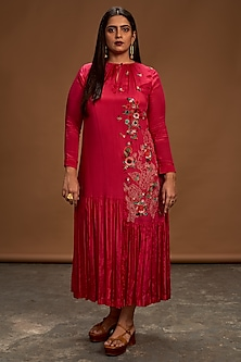 Dark Pink Sequins Embroidered Tunic by Half Full Curve