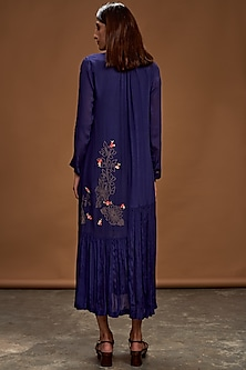 Navy Blue Embroidered Tunic by Half Full Curve
