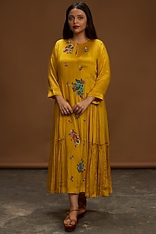 Mustard Sequins Embroidered Tunic by Half Full Curve