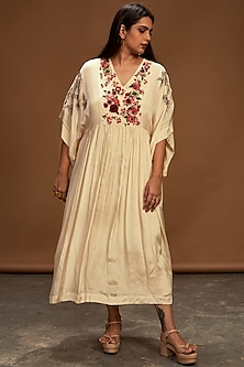 Ecru Hand Embroidered Tunic by Half Full Curve