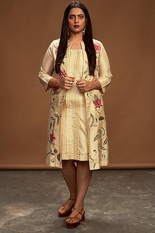 Ecru Embroidered Jacket Set by Half Full Curve