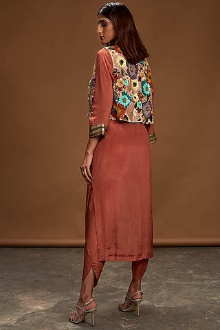 Multi Colored & Rust Embroidered Jacket Set by Half Full Curve