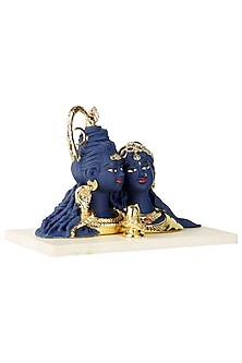 Blue & Gold Shiv Parvati Idol by H2H