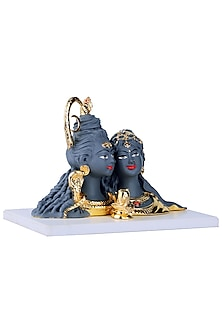 Grey & Gold Shiv Parvati Idol by H2H