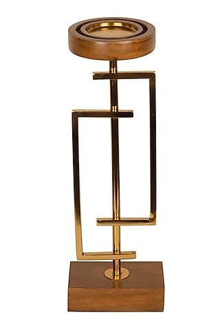Gold & Brown Geometric Candle Holder by H2H