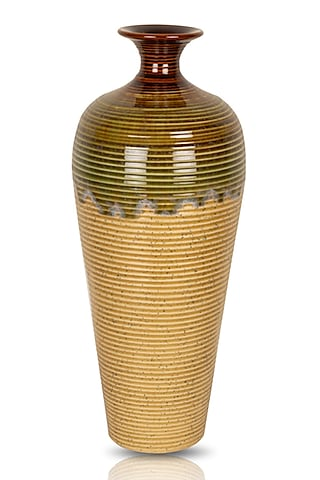 Beige, Green, & Brown Ceramic Vase by H2H