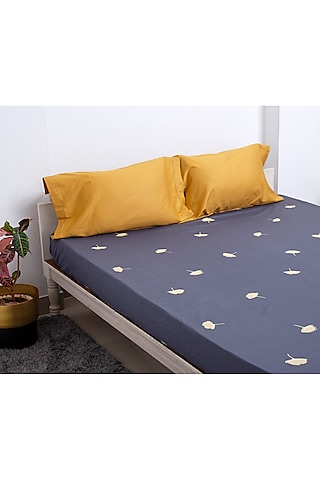 Blue & Yellow Embroidered Bedsheet Set by H2H