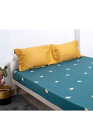 Green & Yellow Embroidered Bedsheet Set by H2H