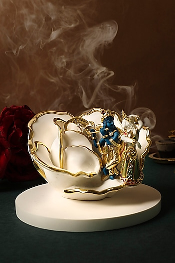 White & Gold Lord Krishna & Radha Sculpture by H2H