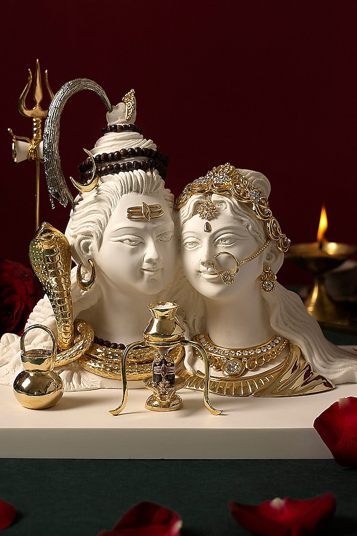 White & Gold Shiv Parvati Sculpture by H2H