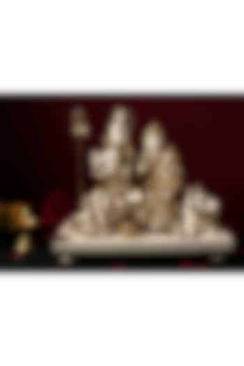 White & Gold Lord Shiva Nandi Sculpture by H2H
