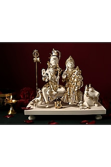 White & Gold Lord Shiva Nandi Sculpture by H2H-WEDDING GIFTING