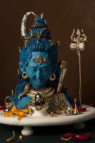 Blue, Gold & White Lord Shiva Sculpture by H2H