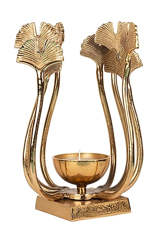 Gold Aluminium Candle Holder by H2H