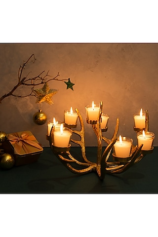 Gold Reindeer Antlers Candle Holder & Candles by H2H