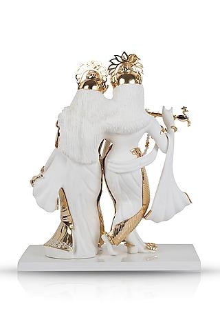 White & Gold Radha Krishna Sculpture by H2H