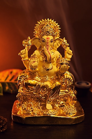 Ivory & Gold Lord Ganesha Sculpture by H2H