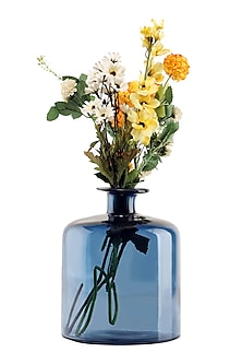 Blue Crystal Glass Bottle Vase  by H2H