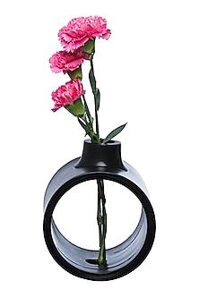 Black Teakwood Circle of Life Vase  by H2H