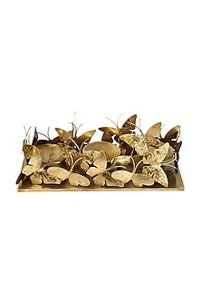 Golden Iron & Brass Butterfly Trail Candle Stand by H2H
