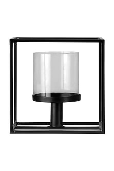 Black Iron & Glass Lilian Cube Candle Stand (Large) by H2H