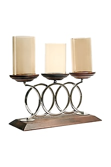 Brown Wood & Steel Tipple Candle Stand  by H2H
