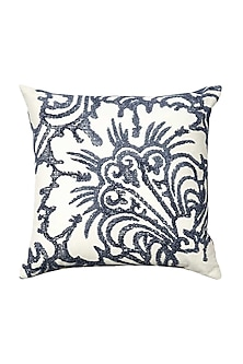 Grey & White Cotton Abstract Tulip Cushion Cover  by H2H