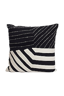 Black & White Cotton River Cushion Cover  by H2H