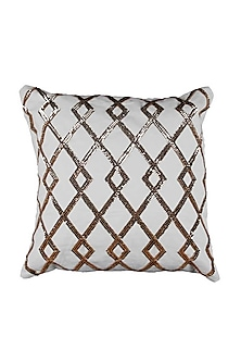 Golden & Silver Sequined Cotton Gilded Grid Cushion Cover   by H2H