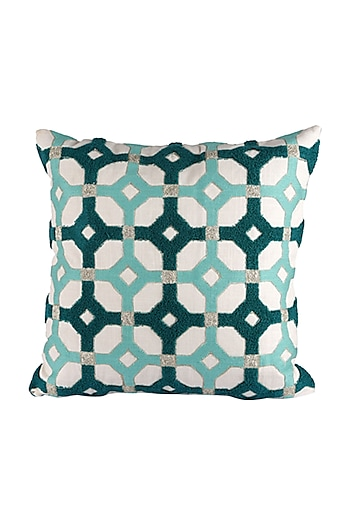 Green & White Cotton Interloop Cushion Cover  by H2H