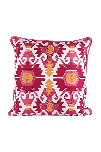 Pink & White Cotton Lily Aztec Cushion Cover  by H2H