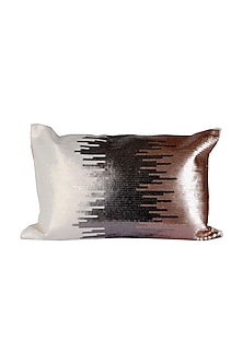 Silver & White Cotton Luxe Maxx Cushion Cover  by H2H