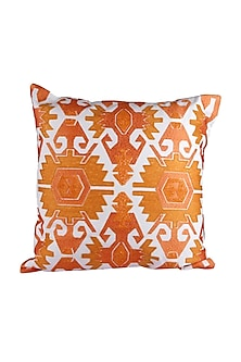 Orange & White Cotton Marigold Aztec Cushion Cover  by H2H