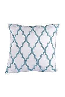 Green & White Cotton Nora Cushion Cover  by H2H