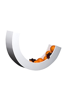 White Teakwood & Plywood Crescent Fruit Basket  by H2H