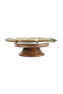 Golden Teak Wood & Glass Flower Bowl  by H2H