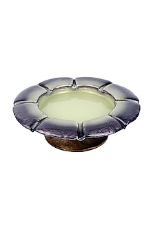 Lilac Teakwood & Glass Flower Bowl  by H2H