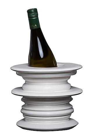 White Teakwood & Plywood Weekend Wine Bottle Holder  by H2H