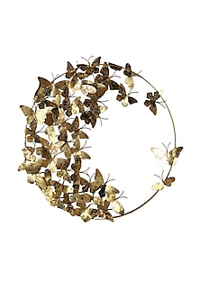 Golden Iron & Brass Butterfly World Wall Decor by H2H
